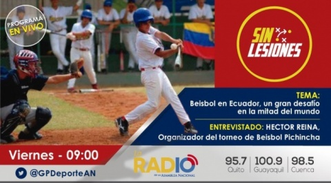 Programa Nro. 18 de #SinLesiones. Esta vez hablamos del béisbol que en la ciudad capital abre nuevos espacios de recreación y amistad entre ecuatorianos y venezolanos.